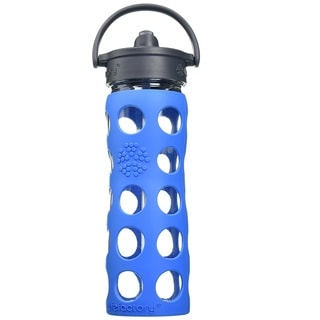 Lifefactory Blue Glass and Silicone Water Bottle With Straw Cap
