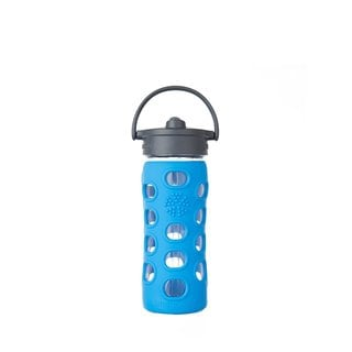 Lifefactory Blue Silicone and Glass Water Bottle With Straw Cap