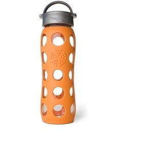 Lifefactory Orange Silicone and Glass Water Bottle With Leakproof Cap