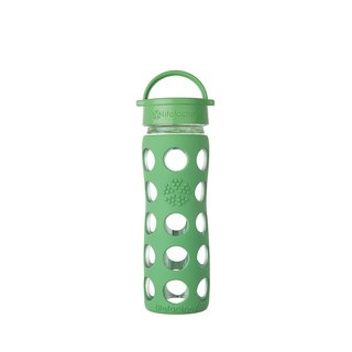 Lifefactory Green Glass and Silicone Water Bottle With Leak-proof Classic Cap