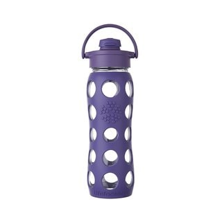 Lifefactory Purple Silicone and Glass Water Bottle With Flip Cap