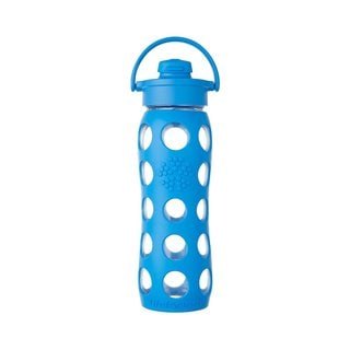 Lifefactory Blue Silicone Glass Water Bottle with Flip Cap