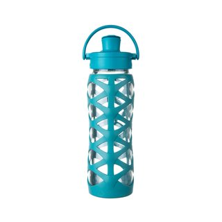 Lifefactory Blue Silicone Glass Bottle with Active Flip Cap