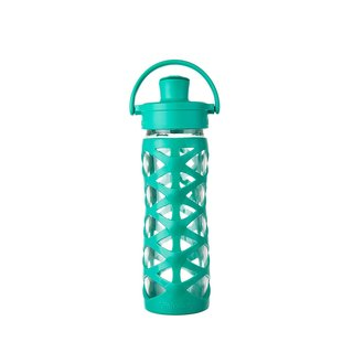 Lifefactory Green Silicone Glass Bottle with Active Flip Cap