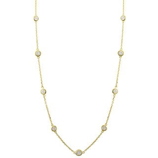 Luxiro Gold Finish Sterling Silver Cubic Zirconia Station Necklace, 18""
