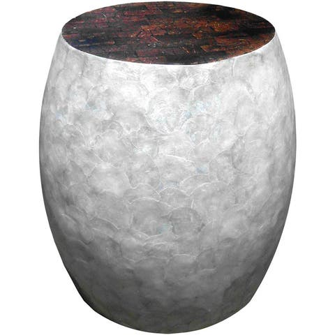 Handmade Silver Sea Crest Shell Coconut Accent Stool (Indonesia)