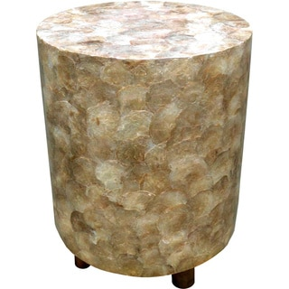 Golden Capiz Shell Inlay Round Stool (Indonesia)