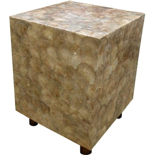 Handmade Capiz Sea Shell Square Accent Stool (Indonesia)