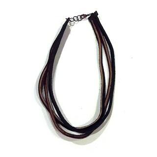 Dark Brown Genuine Leather Multistring Necklace