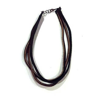Dark Brown Genuine Leather Multistring Necklace