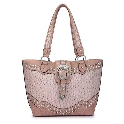 Dasein Western Style Embossed Ostrich Rhinestone Buckle Tote Handbag