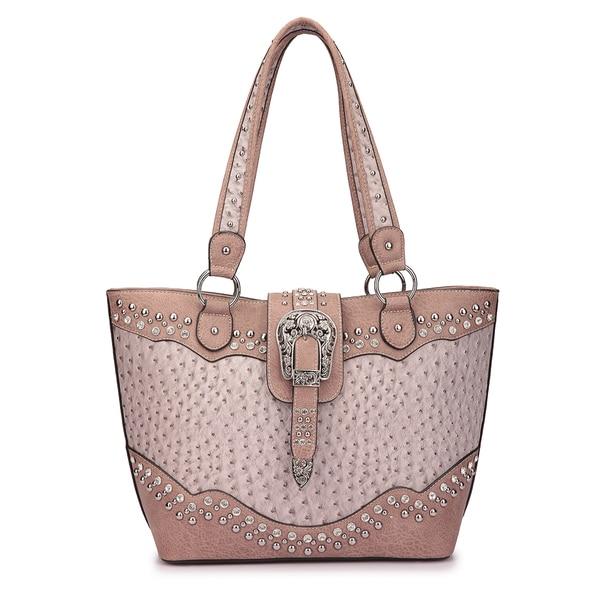 Dasein Western Style Embossed Ostrich Rhinestone Buckle Tote Handbag. Opens flyout.