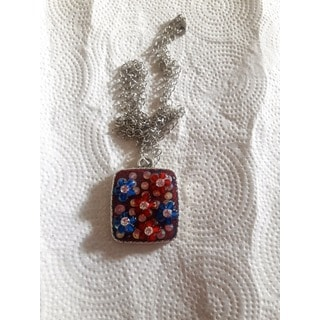 Red, White, and Blue Pendant Necklace