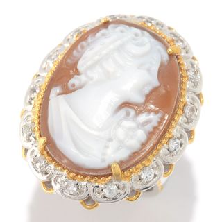 Michael Valitutti Palladium Silver Hand-Carved Shell Cameo & White Topaz Ring