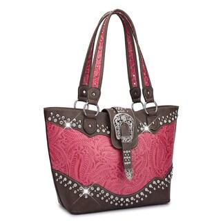 Dasein Western Style Rhinestone Buckle Camo Tote Handbag
