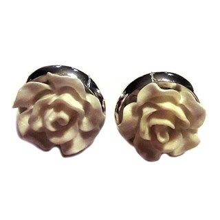 Off-white Rose Flower Stud Earrings