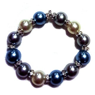 Blue, Grey, and Off-white Faux Pearl Beaded Stretch Bracelet