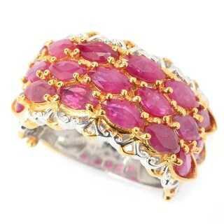 Michael Valitutti Palladium Silver Marquise Ruby Three-Row Band Ring