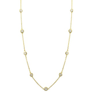 Luxiro Sterling Silver Cubic Zirconia Station Necklace, 16""