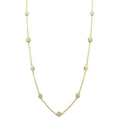 """Luxiro Sterling Silver Cubic Zirconia Station Necklace, 16"""""""