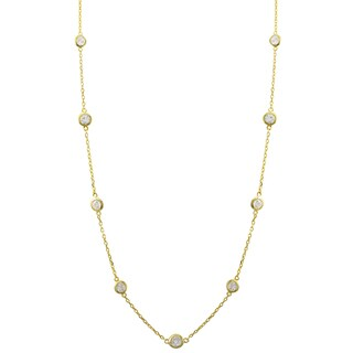 Luxiro Gold Finish Sterling Silver Cubic Zirconia Station Necklace, 16""