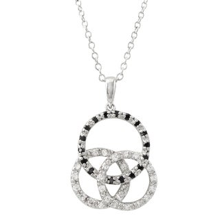 Luxiro Sterling Silver Black Cubic Zirconia Linked Circles Pendant Necklace