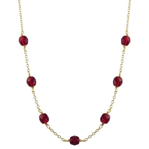 Luxiro Gold Finish Red Stones Beaded Children's Necklace