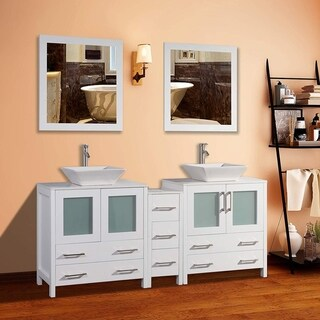Vanity Art 72-inch Double Quartz Sink Bathroom Vanity Set 7 Drawers, 3 Cabinet, 2 Shelves, Soft-Closing Doors with Free Mirror