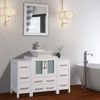 Vanity Art 48-inch Single Sink Bathroom Vanity Set 8 Drawers, 3 Cabinets, 1 Shelf, Quartz Top with Free Mirror