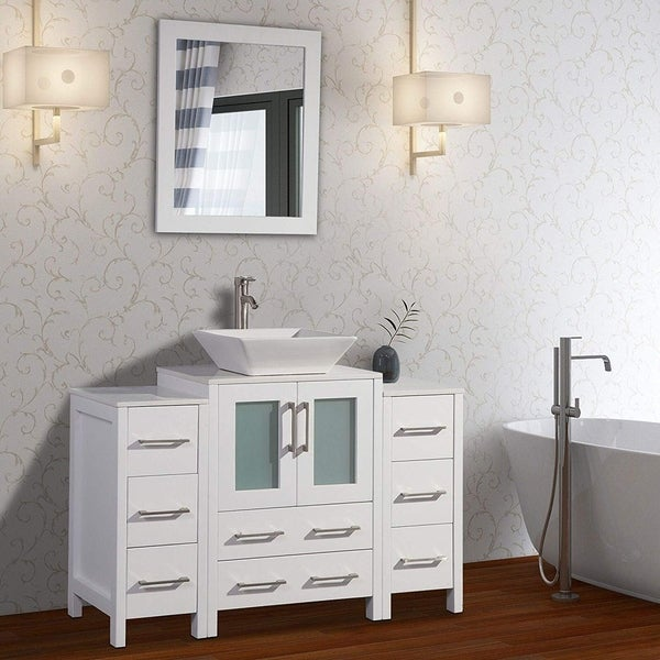 Vanity Art 48-inch Single Sink Bathroom Vanity Set 8 Drawers, 3 Cabinets, 1  Shelf, Quartz Top With Free Mirror - On Sale - Overstock - 13784946