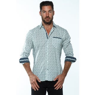 Isaac B. Men's White Cotton Long-sleeve Button Down Shirt