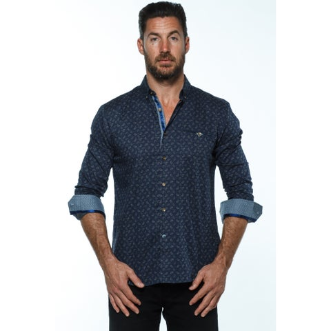 Isaac B. Men's Blue Cotton Long-sleeve Button Down Shirts