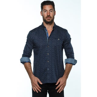 Isaac B. Men's Blue Cotton Long-sleeve Button Down Shirts