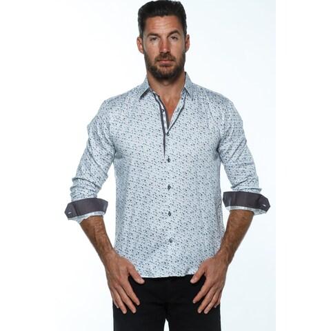 Isaac B. Men's White Cotton Long-sleeved Button-up Shirt