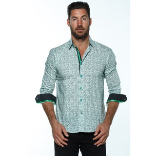 Isaac B. Men's Green Cotton Paisley Long-sleeve Button-down Collared Shirt
