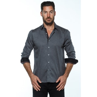 Isaac B. Men's Grey Cotton Long-sleeve Button-down Shirt