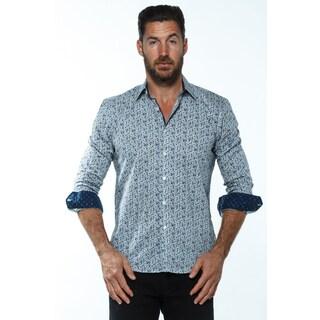 Isaac B. Men's Blue Cotton Long-sleeve Button-down Shirt