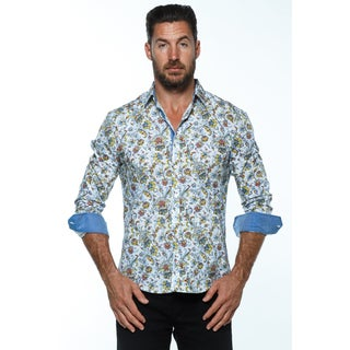 Isaac B. Men's Blue Cotton Long-sleeve Button-down Shirt
