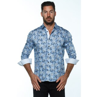 Isaac B. Men's Blue Cotton Long-sleeved Button-up Shirt