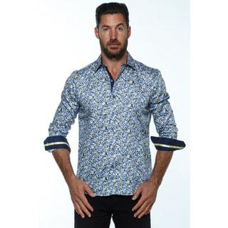 Isaac B. Men's Blue Cotton Long-sleeved Button-down Shirt