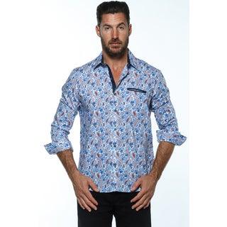 Isaac B. Blue Cotton Long-sleeve Button Down Shirts