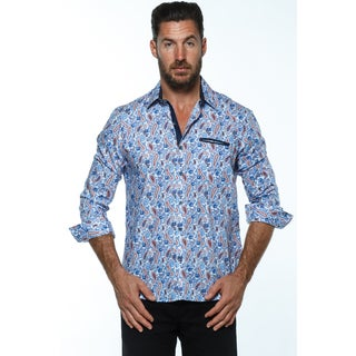 Isaac B. Blue Cotton Long-sleeve Button Down Shirts