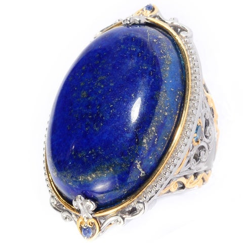 Michael Valitutti Palladium Silver Lapis, London Blue Topaz & Sapphire Elongated Ring