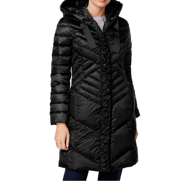 T Tahari Noelle Black Diagonal Quilted Down Coat - Free Shipping ...