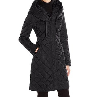 T Tahari Women's Amy Black Down Diamond-quilted Puffer Coat