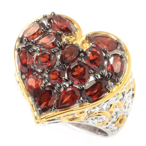 Michael Valitutti Palladium Silver Multi Shape Mozambique Garnet Heart Ring