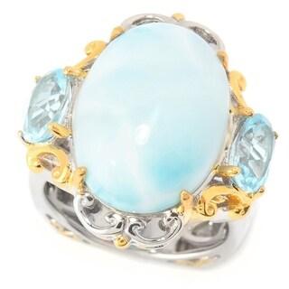 Michael Valitutti Palladium Silver Larimar & Swiss Blue Topaz Three-Stone Ring