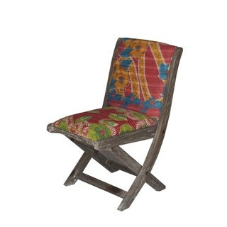 Red Multicolor Floral Pattern Folding Accent Chair (India)