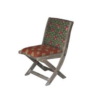 Brown and Green Floral Pattern Folding Accent Chair (India)
