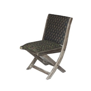 Black and Green Floral Pattern Folding Accent Chair (India)
